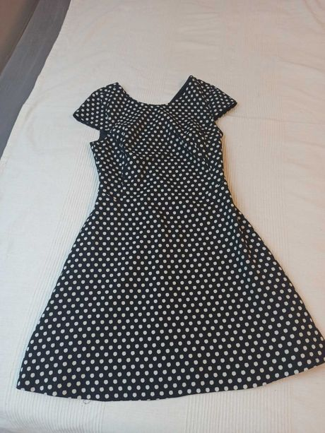 Sukienka, Zara, czarna w białe groszki, 38, M