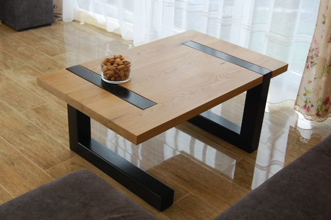 Stolik kawowy ława drewno dąb stal nogi metalowe industrialny loft dom