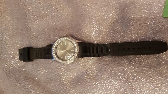 Zegarek damski Auriol diamenty czarny gumowy pasek
