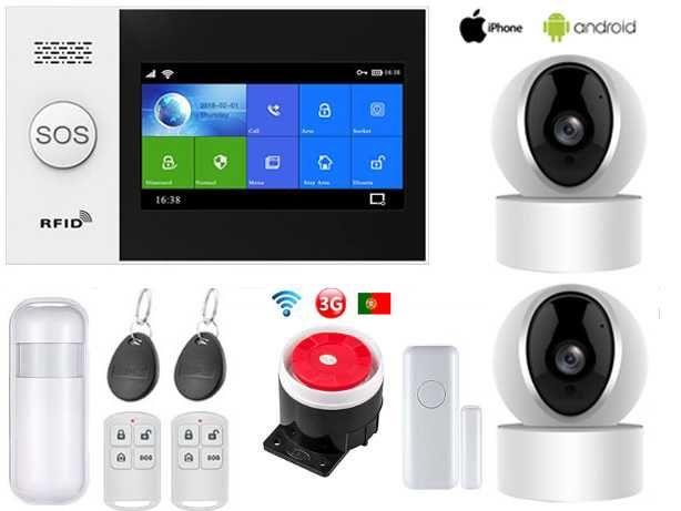 Alarme Casa sem Fios + Cameras SOS/GSM/3G/WiFi Android/iOS (NOVO)