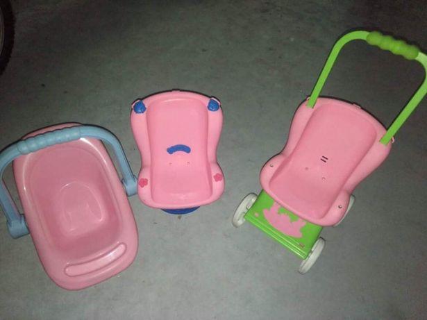 Carrinho, cadeira de carro e cadeira de transporte para nenuco
