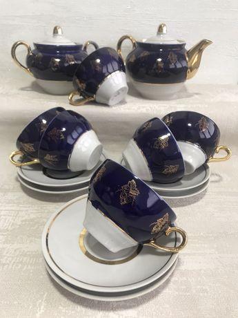 Чайный сервиз СССР, кобальт, радянський посуд
