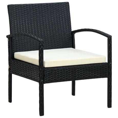 vidaXL Cadeira de jardim com almofadão vime PE preto 45795