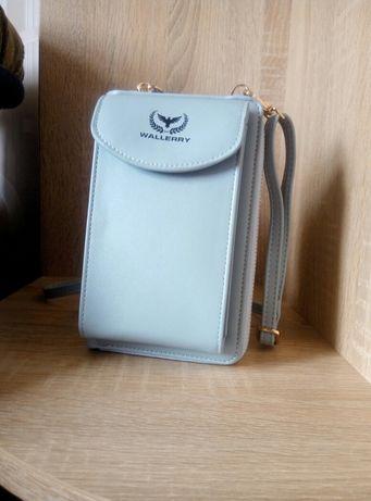 Женский кошелек-клатч голубой, экокожа, сумка, сумочка с ремешком