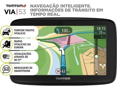 TomTom Via 53 (Mapas Vitalícios da Europa)