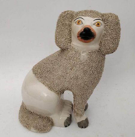 Figurka angielska Staffordshire - XIX - pies PUDEL - figura psa pudla