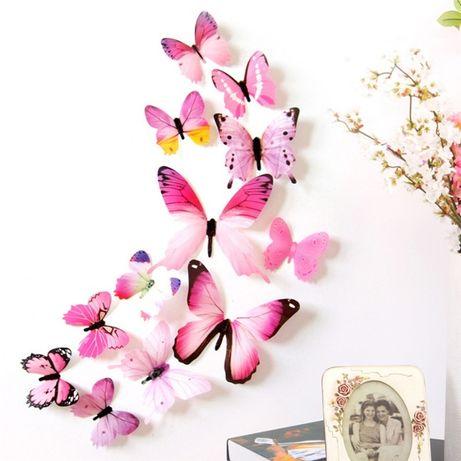 3D Наклейки на стену бабочка, на холодильник, мебель, в детскую комнат