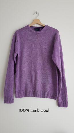 Fiołkowy wełniany fioletowy sweter 100% wełna, 100% lambwool, McGregor