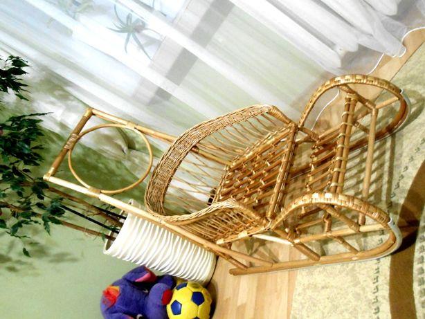 Санки з ручкою штовхачем плетені з лози ( сани, санчата, саночки  )