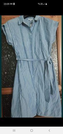 Sukienka koszulowa w paski, szmizjerka L
