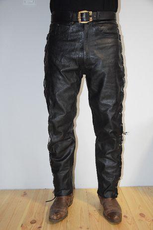 Spodnie motocyklowe skórzane wiązane rzemieniami L&J XL