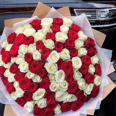 Крутые букеты микс! 45 роз. Розы, цветы, доставка. Подарок любимой