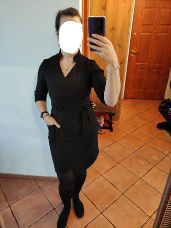 Czarna elegancka sukienka rozm. M rękaw 3/4