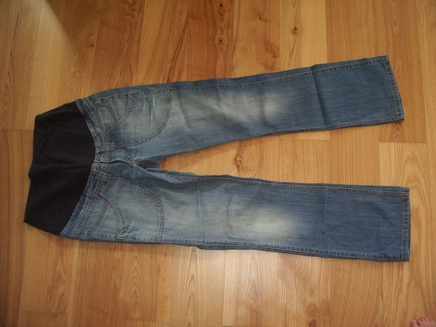 Ciążowe spodnie dżinsowe r. M/170 plus gratis biała bluzka ciążowa r.M