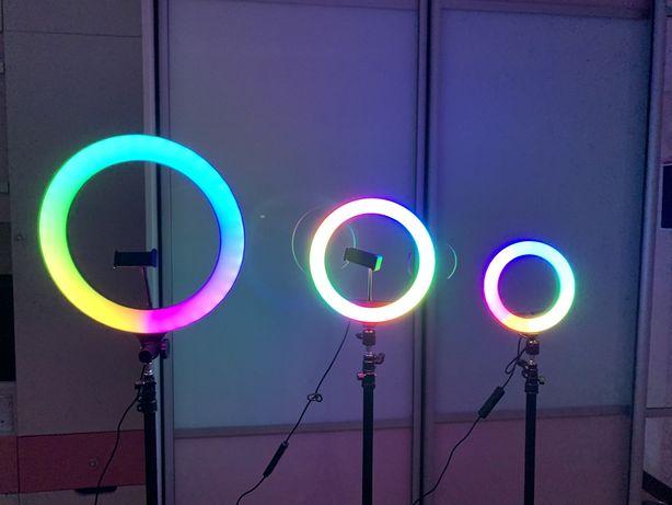 Кольцевая лампа разноцветная(20/26/33/36см)+штатив