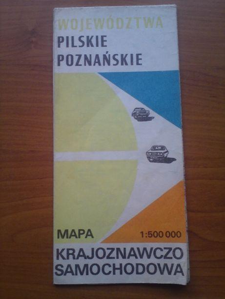 Stara mapa turystyczna Województwa Pilskie Poznańskie 1979 PRL