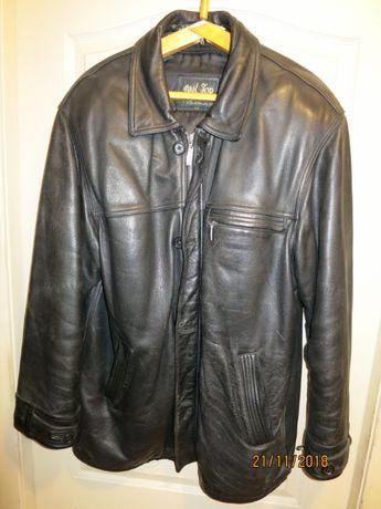 Куртка кожаная мужская демисезонная черная длинная XXL