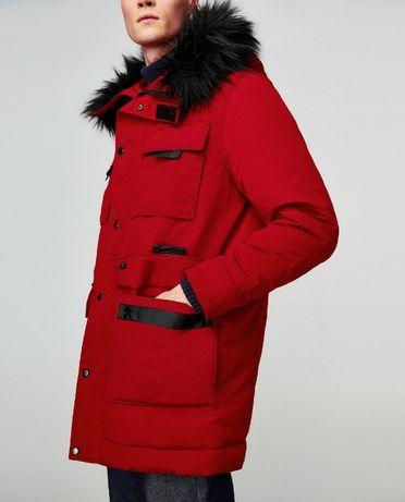 Kurtka Parka Zara zimowa ciepła Czerwona z futerkiem