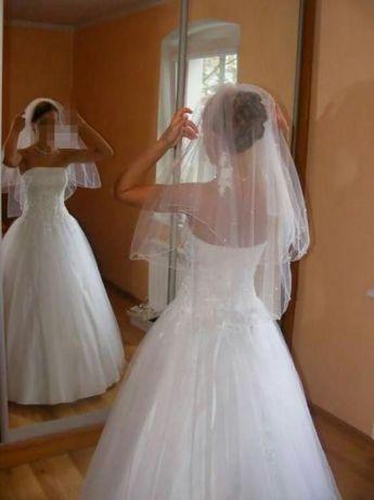 suknia ślubna z welonem i bolerkiem rozmiar 34 36 S