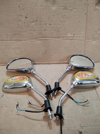 Зеркала  з поворотами хром різба м10 мотоцикл скутер мопед