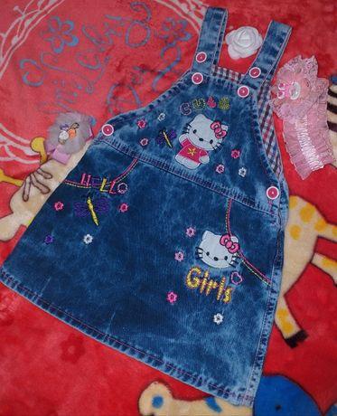 """Летний,джинсовый сарафан """"Hello Kitty""""на малышку"""