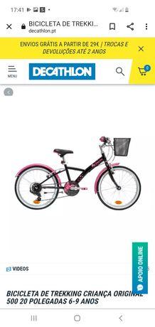 Bicicleta menina como nova, BTWIN original 500, roda 20 6a9 anos