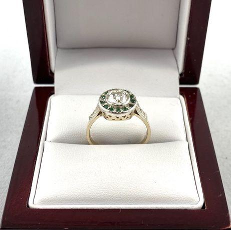 ZŁOTY pierścionek DIAMENTY i szafiry PR. 585 (14K) rozmiar 15