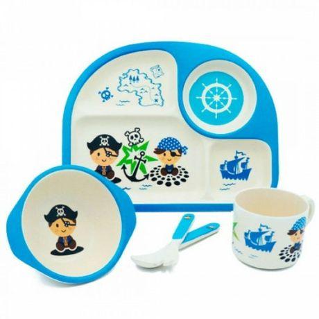 Стильна Дитяча бамбукова посуд 3 в 1 Пірат (блакитний