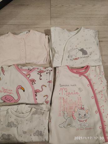 śpiochy dla dziewczynki niemowlęce pajace do spania 56 62 5 sztuk