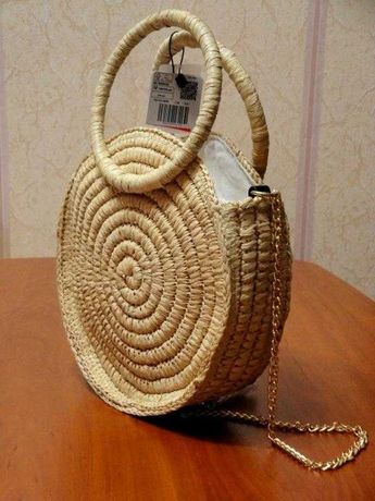 MANGO оригинал Новая круглая плетеная из рафии женская сумка МАНГО