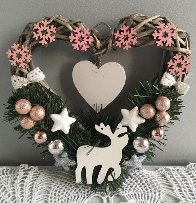 Wianek wieniec świąteczny serce na drzwi ozdoba Boże Narodzenie róż Łódź - image 1