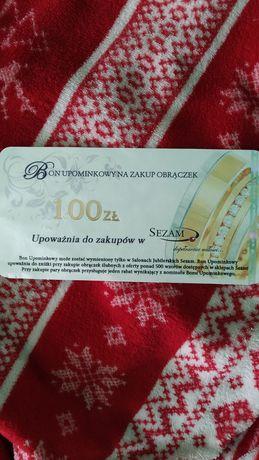 Bon 100zł na zakup obrączek ślubnych SEZAM