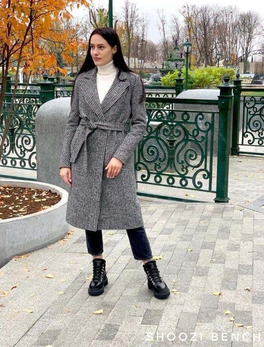 Теплое длинное женское ПАЛЬТО с поясом серое в клетку Харьков - изображение 1
