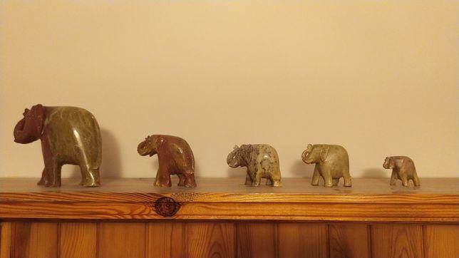 Kamienne rzeźby słoni, 5 figur, handmade