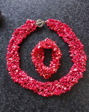 Komplet kolia z bransoletką czerwony koral