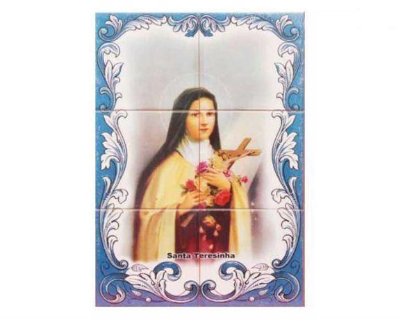 Painel de Azulejos Santa Teresinha Ávila Tereza de Jesus IMAGEM Cruz