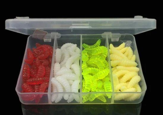 100 шт силиконовый опарыш, искусственная приманка в кейсе рыбалка