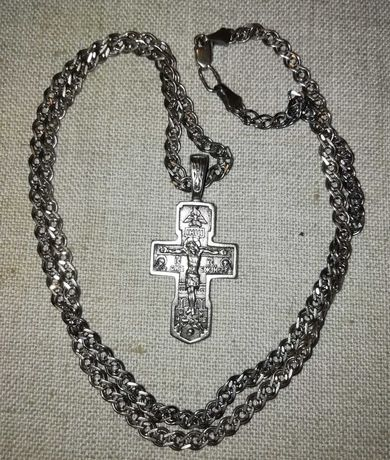 Крест серебряный с цепочкой. 925.