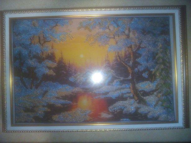 """Картина бисером """"Снежный закат"""""""