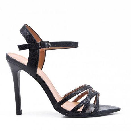 Sandały czarne na szpilce z paseczkami 36-41