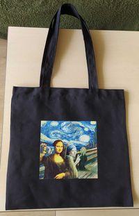 Сумка шоппер, эко-сумка, Мона Лиза, Крик, Девушка с жемчужной сережкой