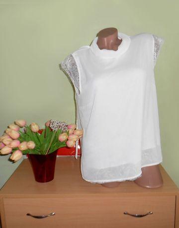 нарядная белая блузка с кружевом без рукавов 48-50 размер