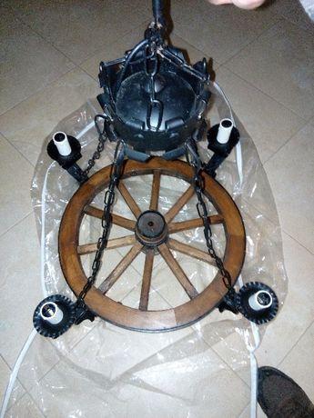 4 Candeeiros roda de carroça pequeno 4 lâmpadas