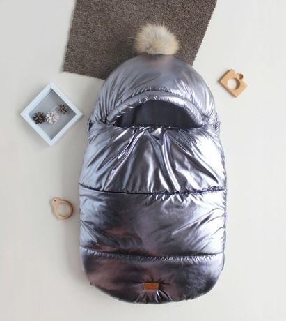 Зимний, утепленный конверт-кокон для новорожденного