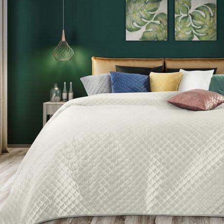 Narzuta na łóżko 170x210 Ariel kremowa z motywem rybiej łuski