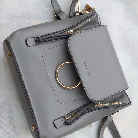 Plecak mały / torebka styl miejski kolor szary