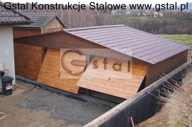 Drewnopodobny garaż blaszak 9x6 automat drzwi okno