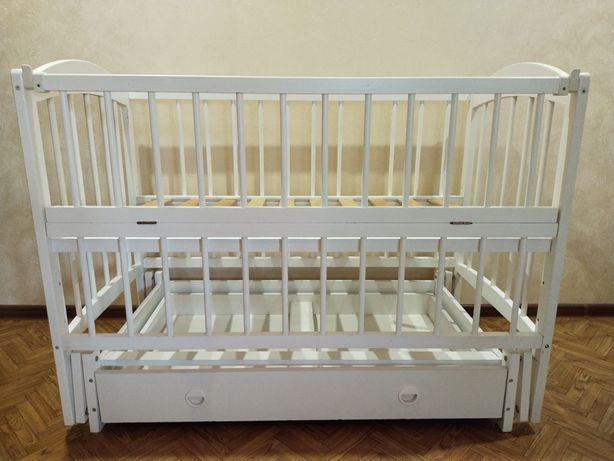 Детская кроватка+ матрас+ бортики+ балдахин
