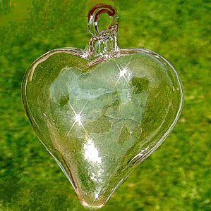 Serce serduszko szklane ze szkła twardego zawieszka szklana, 5cm