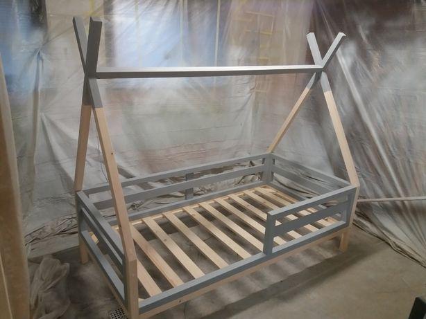ŁÓŻECZKO TIPI 140 X 80 zdejmowane poziome barierki szare łóżko